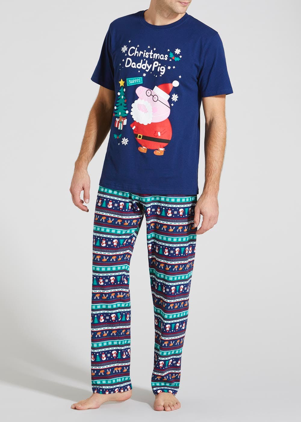 5a91bc9c Family Daddy Pig Christmas Pyjama Set – Navy – Matalan