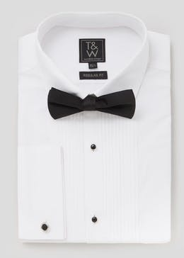 Regular Fit Pleat Front Dinner Shirt & Bow Tie Set