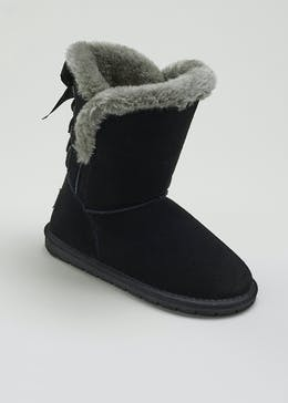Girls Real Suede Faux Fur Lined Boots (Younger 10-Older 5)