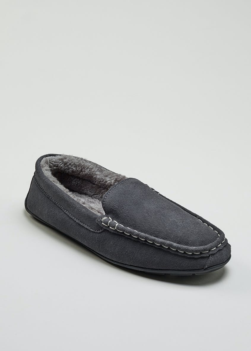 Real Suede Moccasin Slippers