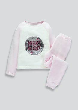 Girls Fleece Sequin Pyjama Set (4-13yrs)