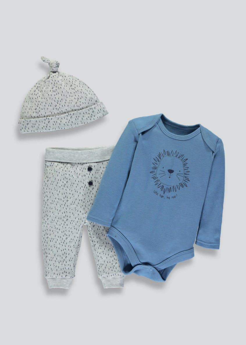 Unisex Lion Bodysuit, Leggings & Heat Set (Tiny Baby-9mths)