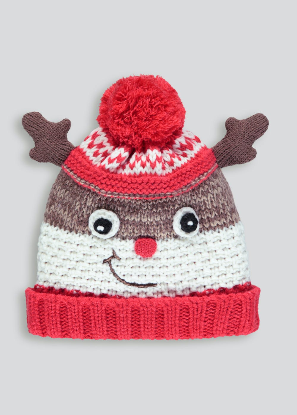 Kids Reindeer Christmas Bobble Hat (3-13yrs) – Brown – Matalan 3d2c057e9e80