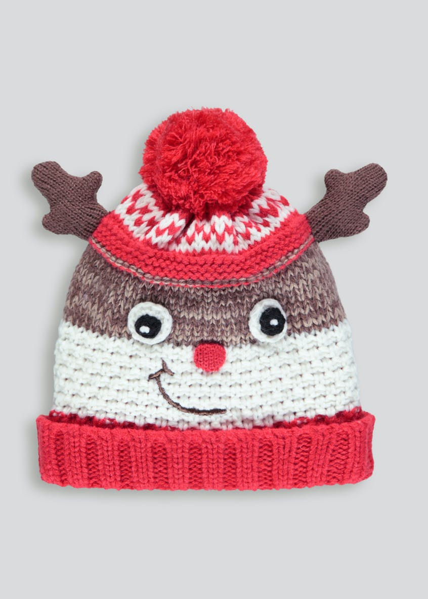 Kids Reindeer Christmas Bobble Hat (3-13yrs)