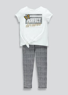 Girls Check Leggings & T-Shirt Set (4-13yrs)