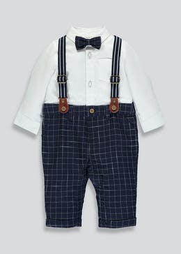 Boys Brace Trousers, Mock Shirt & Bow Tie Set (Newborn-18mths)