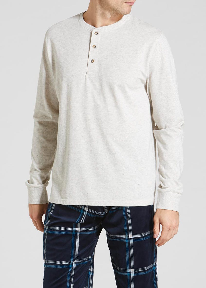 Long Sleeve Grandad Collar Lounge Top