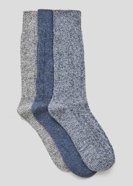 3 Pack Cable Knit Thermal Socks