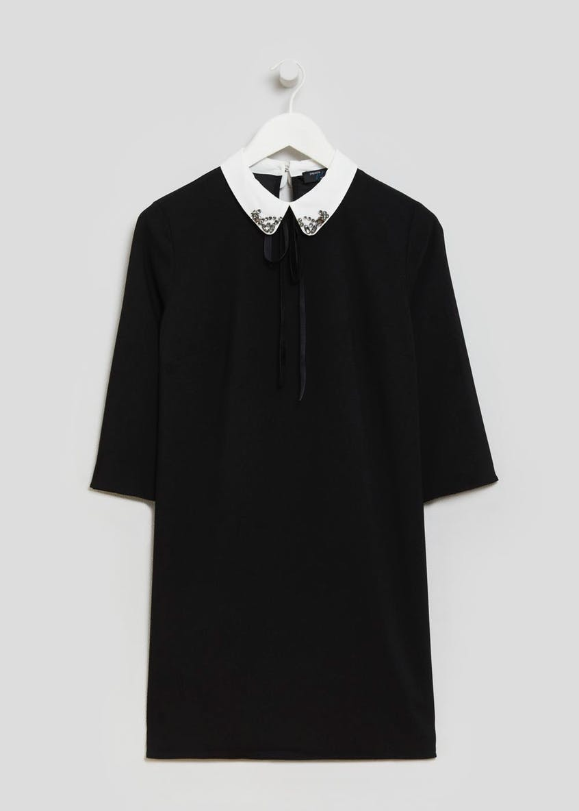 Papaya Petite Embroidered Collar Dress