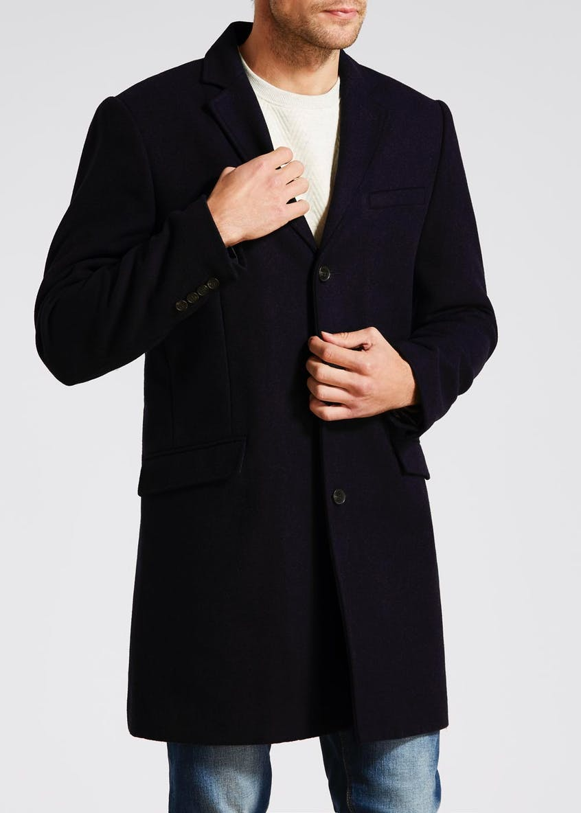Big & Tall Wool Longline Overcoat