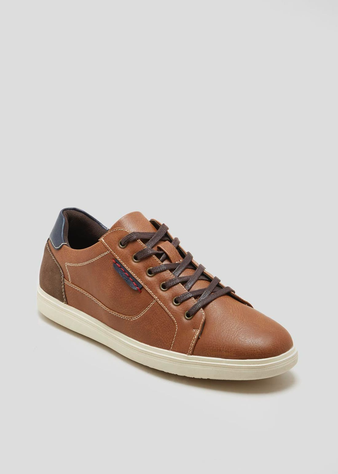 Tan Leather Look Lace Up Trainers