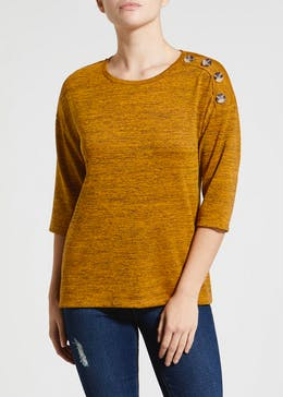 Papaya Petite Button Front Snit Top