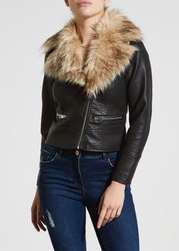 Papaya Petite Faux Fur Collar PU Biker Jacket