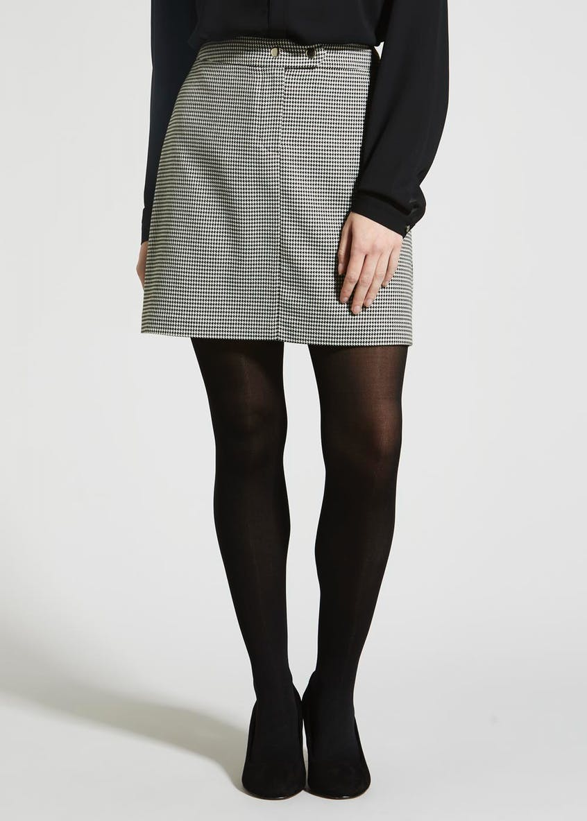 Dogtooth Check A-Line Skirt
