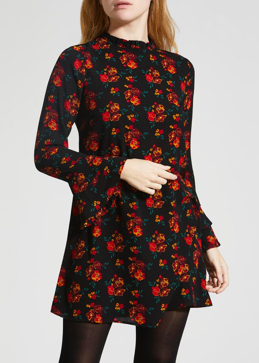 Papaya Petite Floral Frill Sleeve Tea Dress