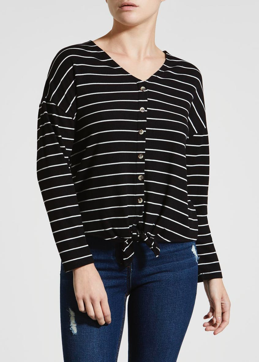 Papaya Petite Stripe Ribbed Button Front Top