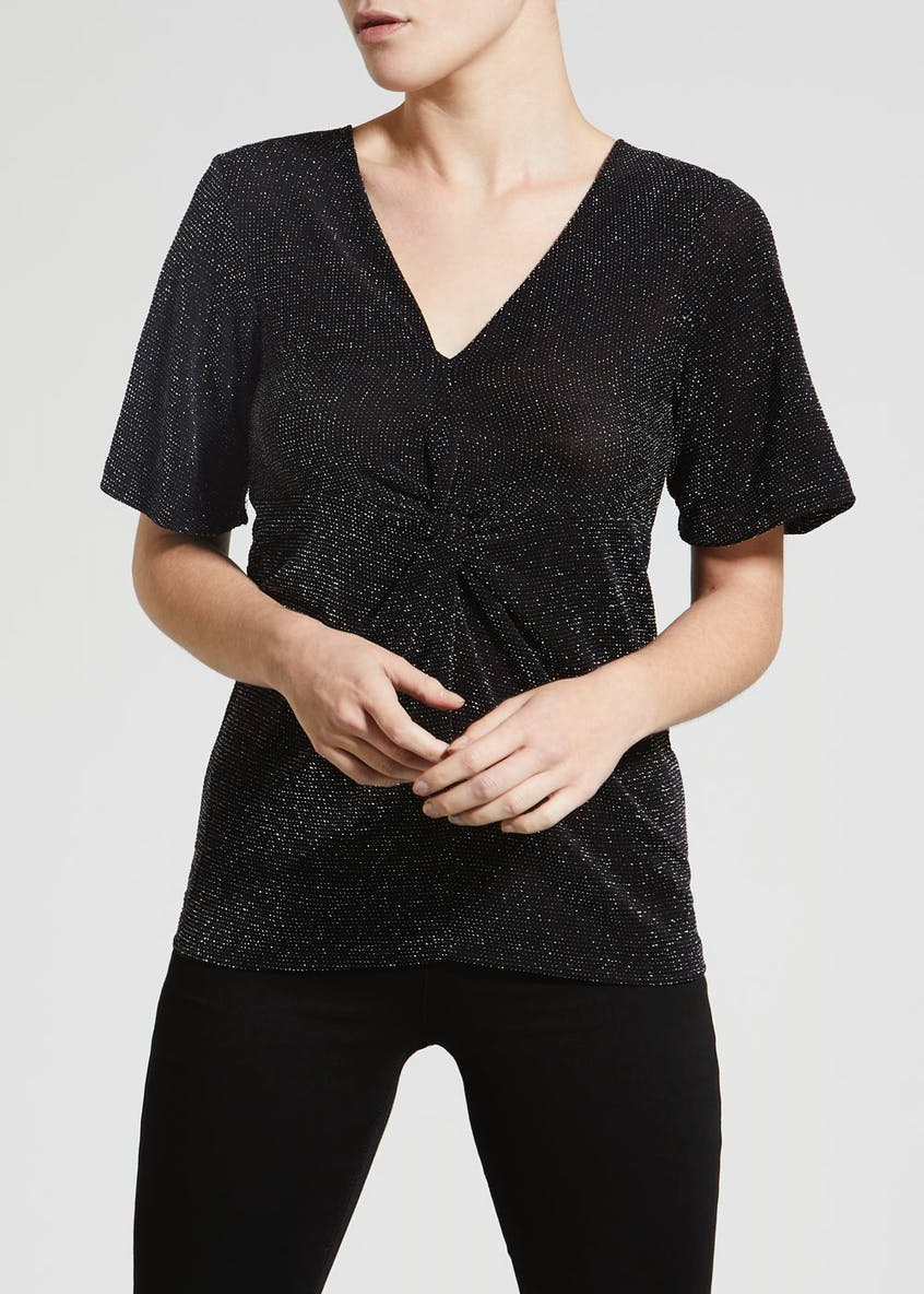 Papaya Petite Sparkle Twist Front Top
