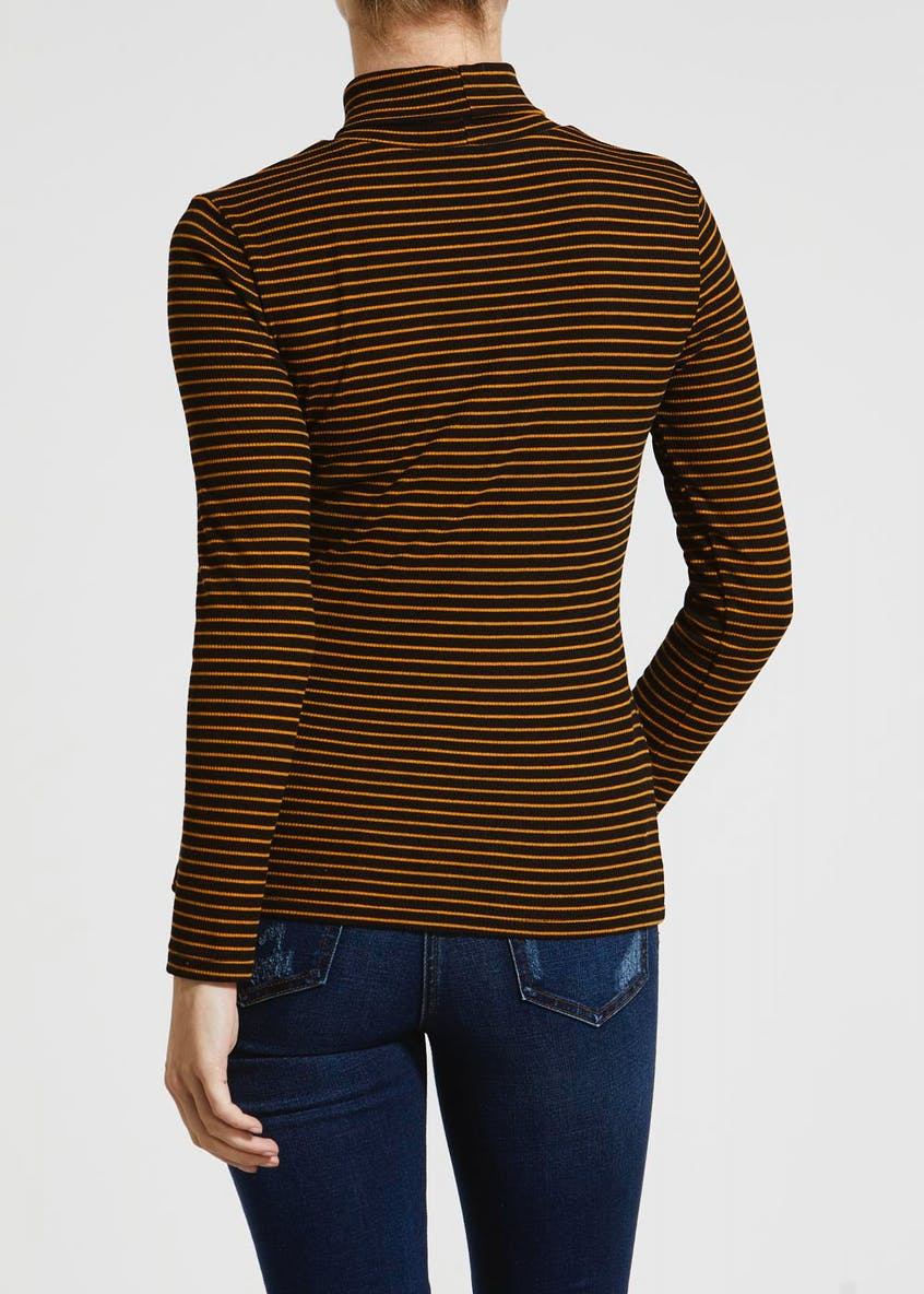Papaya Petite Stripe Ribbed Roll Neck Top
