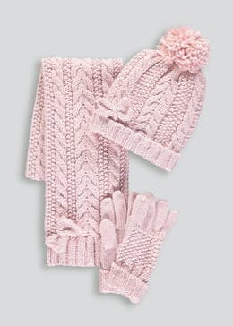 Girls 3 Piece Cable Hat, Scarf & Gloves Set (3-13yrs)