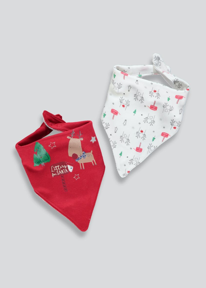 2 Pack Christmas Bandana Bibs (One Size)