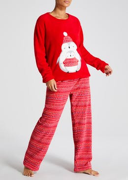 Penguin Fleece Christmas Pyjama Gift Set