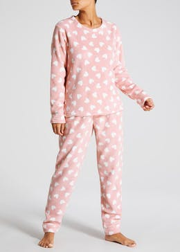 Heart Fleece Christmas Pyjama Gift Set