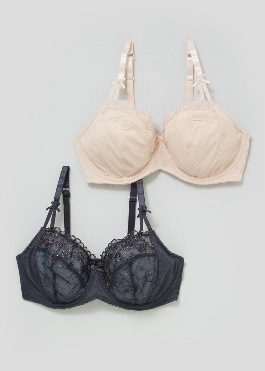 2 Pack DD+ Non-Padded Embroidered Bras