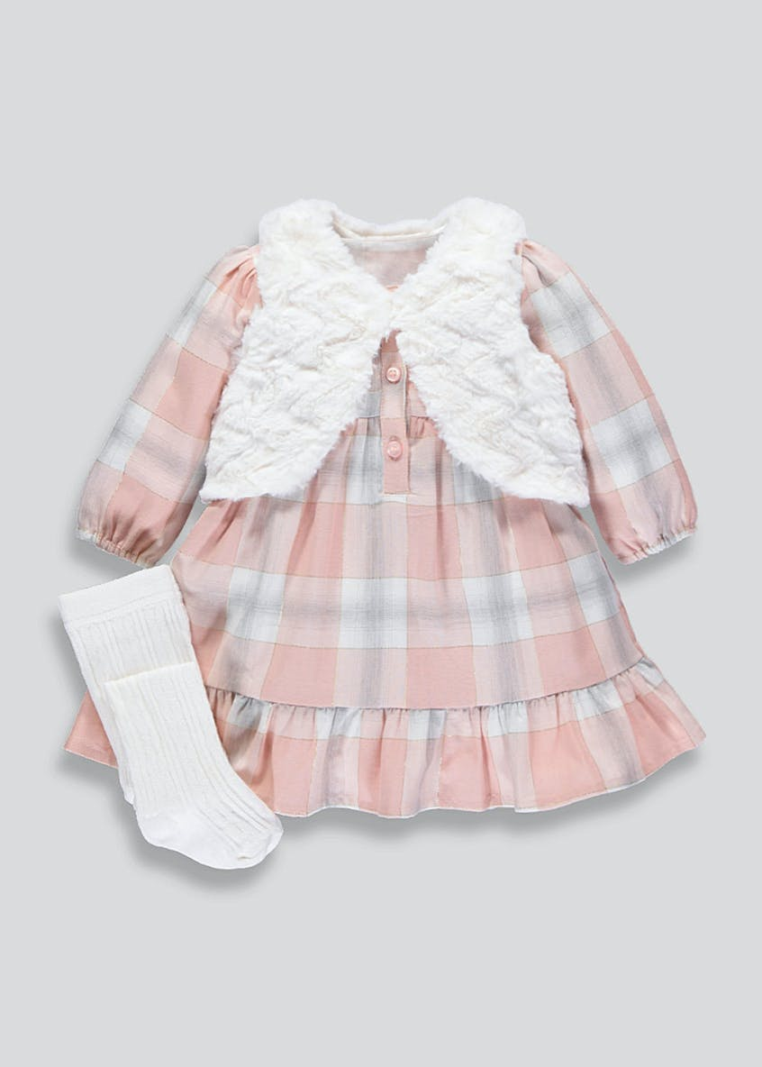 Girls Check Dress Shrug & Tights Set (Newborn-18mths)