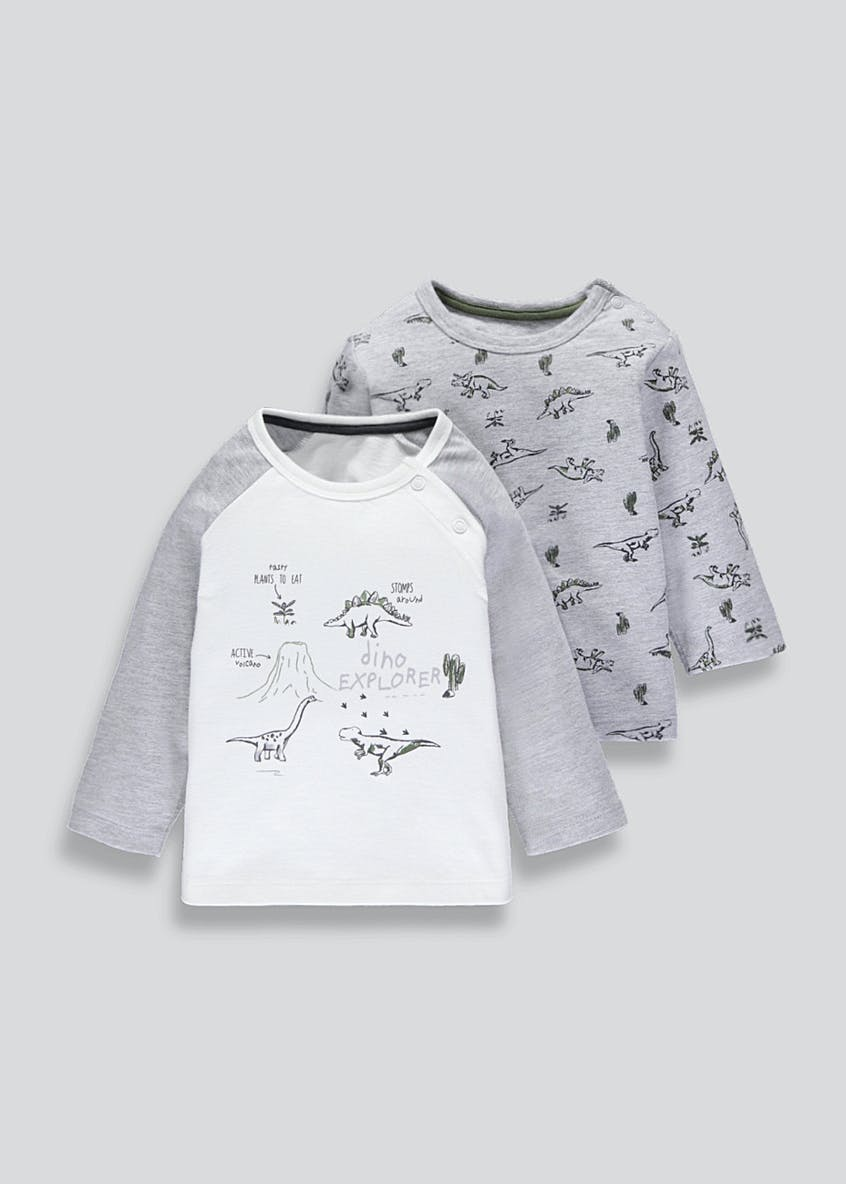 Kids 2 Pack Dinosaur T-Shirts (Tiny Baby-18mths)