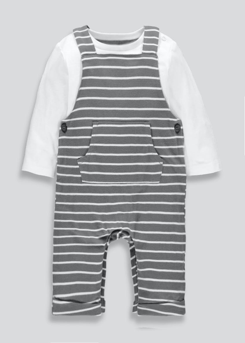 Unisex Stripe Dungaree & T-Shirt Set (Tiny Baby-12mths)