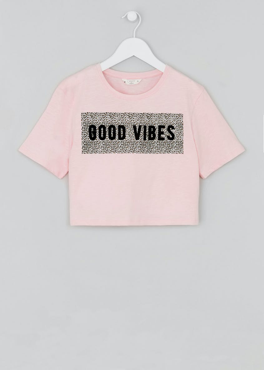 Girls Candy Couture Good Vibes Cropped T-Shirt (9-16yrs)
