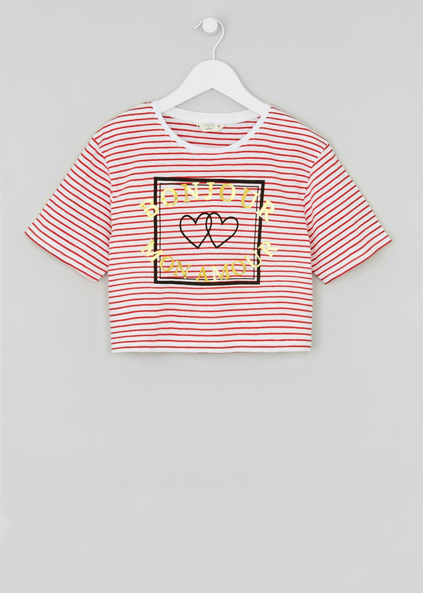 Girls Candy Couture Bonjour Slogan Stripe T-Shirt (9-16yrs)