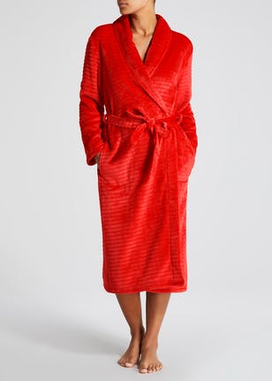 Ripple Textured Dressing Gown – Red – Matalan