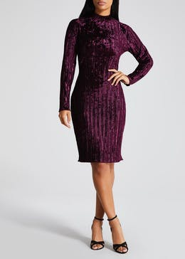 FWM High Neck Velvet Midi Dress