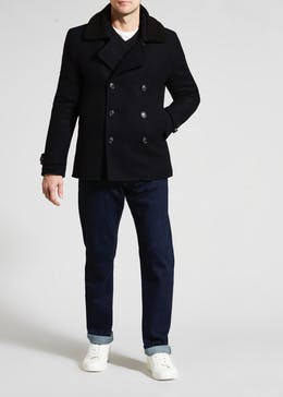 Morley Wool Blend Borg Collar Pea Coat