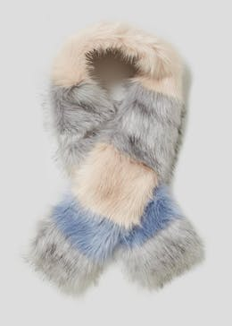 Faux Fur Stripe Scarf