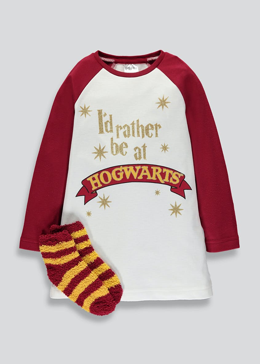 Girls Harry Potter Nightie & Slipper Socks