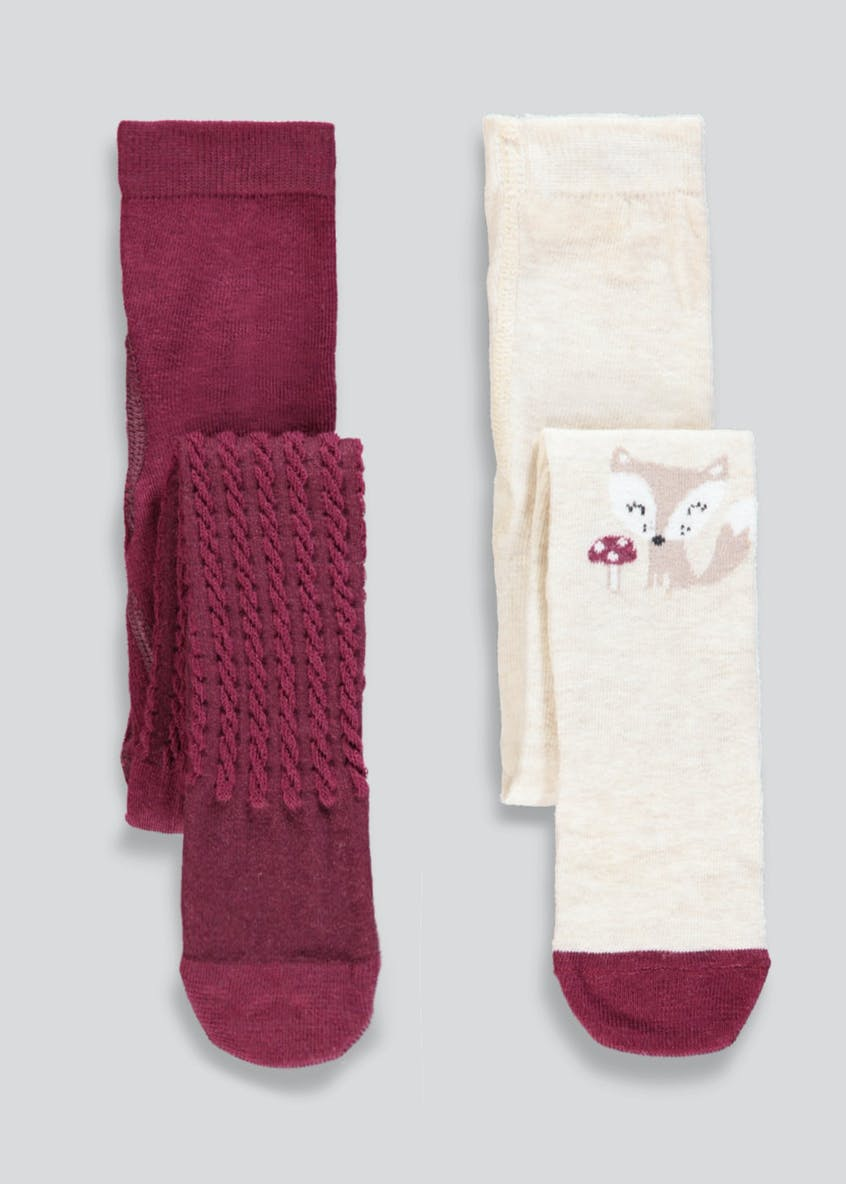 Girls 2 Pack Fox Tights (Newborn-4yrs)