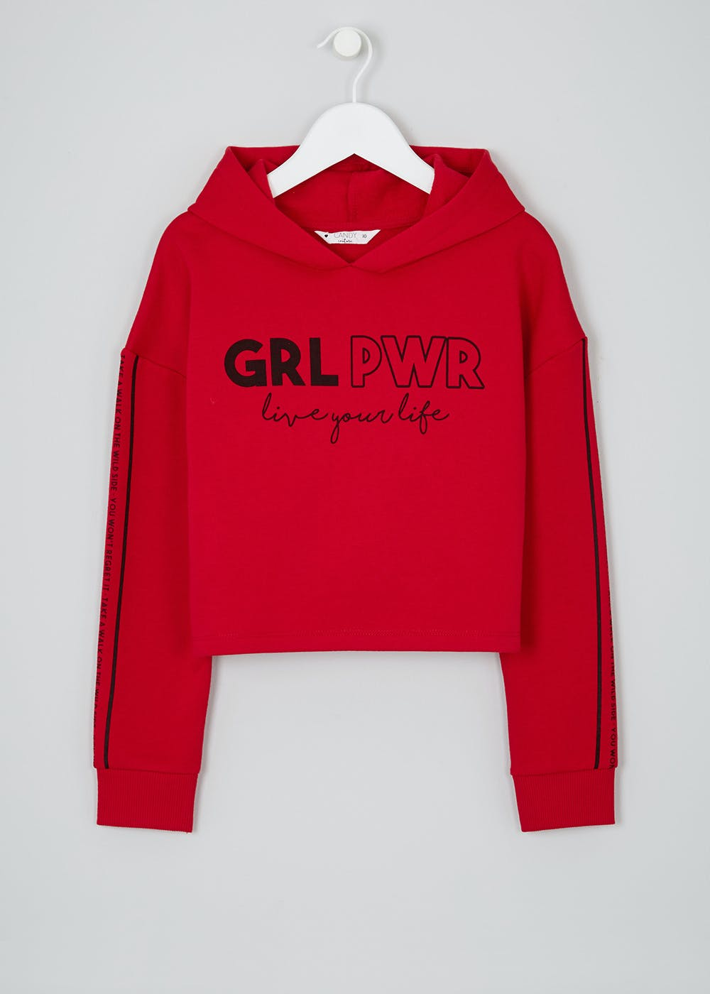 4ec44aa82cfd51 Girls Candy Couture Girl Power Cropped Hoodie (9-16yrs) – Red – Matalan