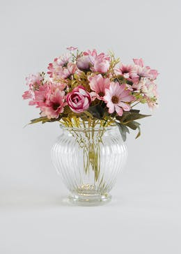 Floral Arrangement in Ribbed Vase (30cm x 15cm)