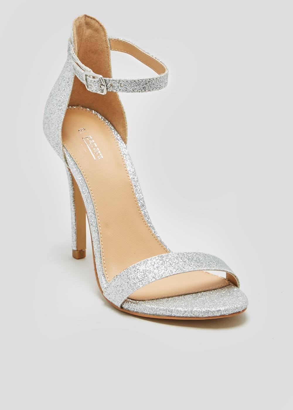 c13e1ae92 Glitter Barely There Strappy Heels – Silver – Matalan