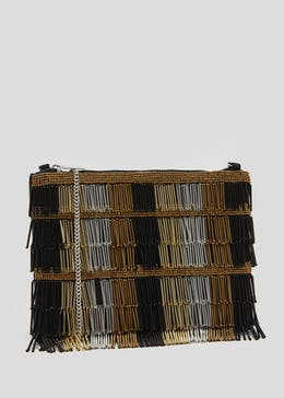 Bugle Beaded Tassel Clutch Bag