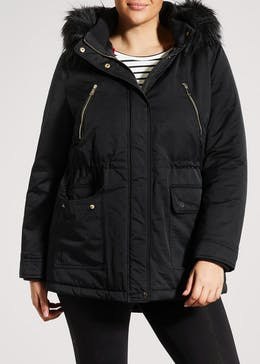Papaya Curve Faux Fur Trim Hooded Parka