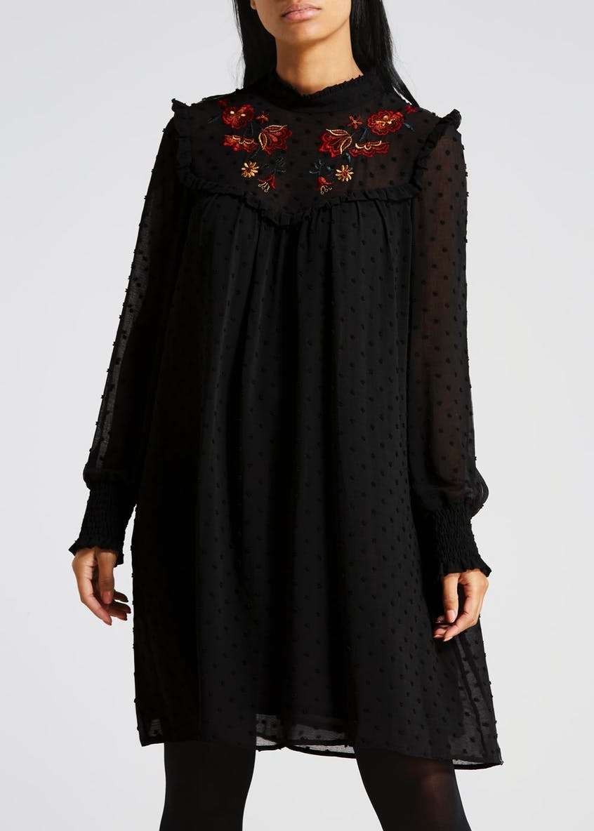 Textured Dobby Floral Embroidered Dress