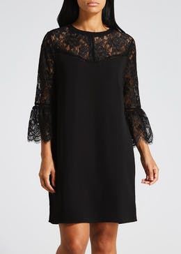 Lace Bell Sleeve High Neck Shift Dress