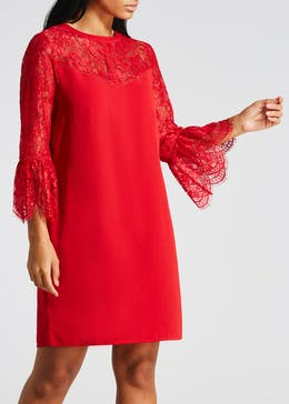 Lace Bell Sleeve High Neck Dress
