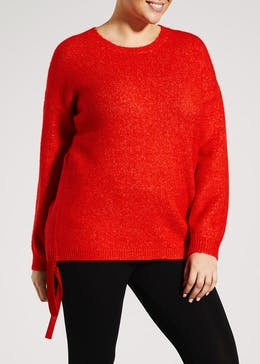 Papaya Curve Ruched Hem Jumper