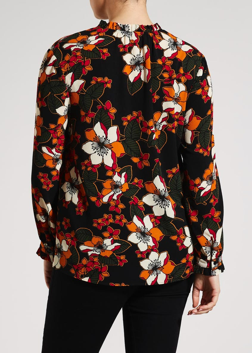 Papaya Curve Floral High Neck Blouse