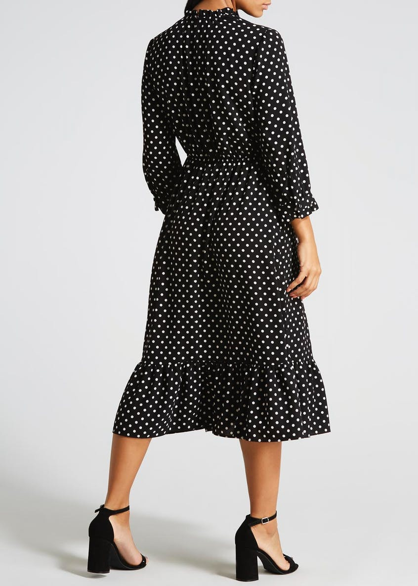 Polka Dot Peplum Hem Midi Dress