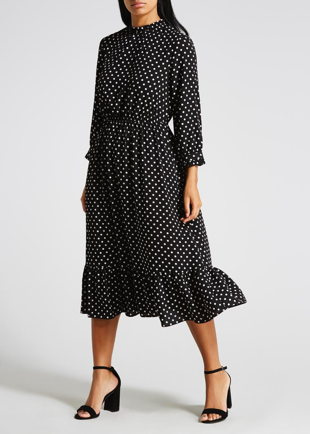 9c601dfd4ac5 Polka Dot Peplum Hem Midi Dress – Black – Matalan